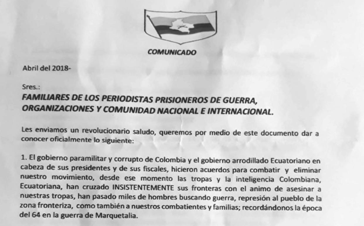 Grupo armado colombiano suspende entrega de cuerpos de periodistas ecuatorianos asesinados